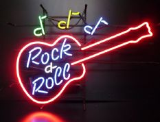 Rock and Roll Guitar Neon Sign
